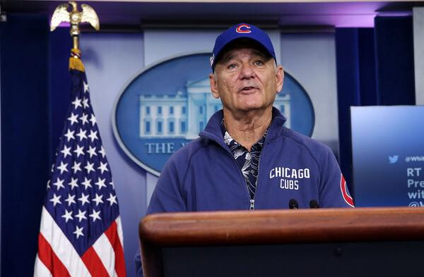 Bill Murray crashes White House press briefing wearing full Cubs garb