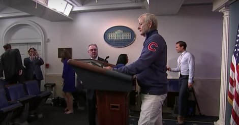 Bill Murray crashed the White House press room to talk about the Cubs.