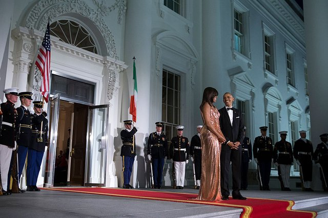 Michelle Obama rocked a chain-mail Versace gown at her final state dinner.