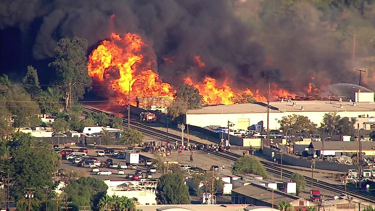 Fire is at a cardboard recycling facility in Ontario off Holt, Grove near airport