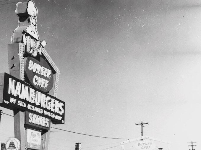 """This is a photo of an old """"Burger Chef"""" in Hoffman Heights, circa 1967. This was a high ti…"""