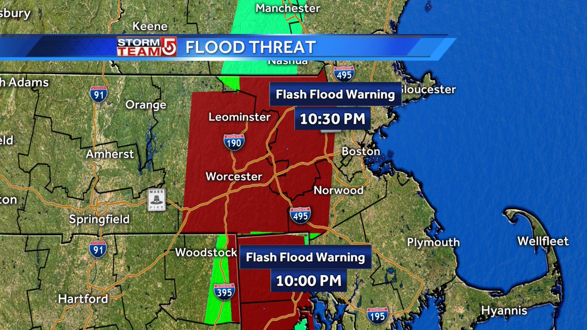 Flash Flood Warning has been expanded closer to Boston. Shrewsbury has nearly 4