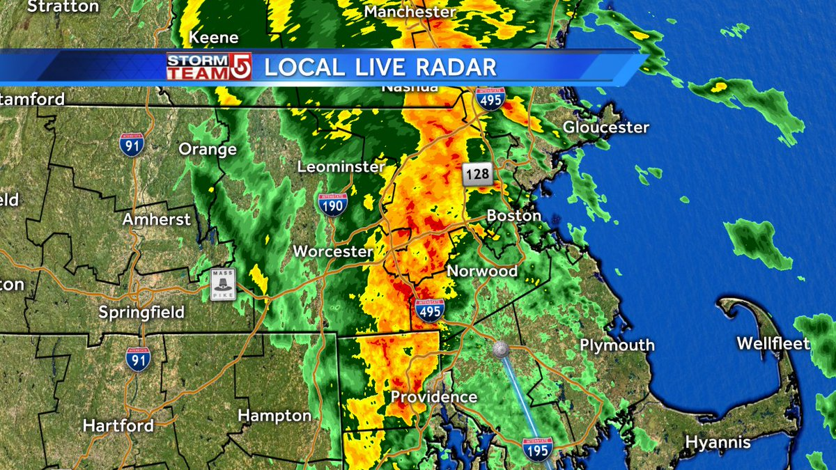 Heavy rain shifting east slightly. Now between 128 & 495. Dangerous driving. wcvb