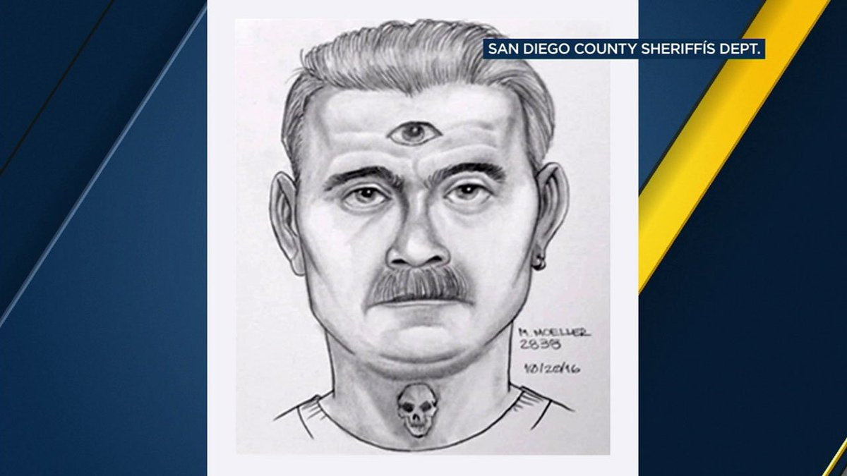 Attempted kidnapping suspect with third eye tattoo sought in San Diego County