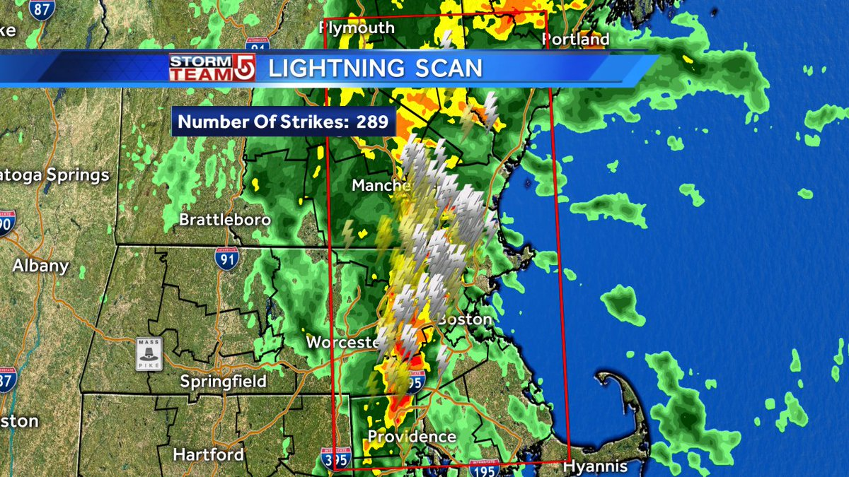 Intense lightning continues with the downpours. 289 strikes in the last 30-minutes. wcvb