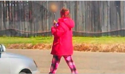 Homeless woman seen w/skull on a stick leads police to dead body.