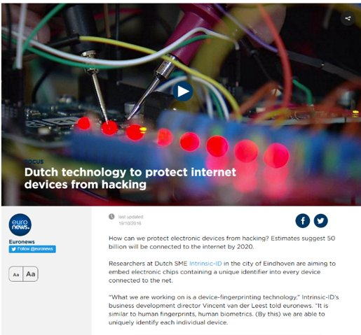 #SMEinstrument and #InnovationRadar prize winner @IntrinsicID featured in @euronews for IoT security https://t.co/SAjHSF4Mo1 @H2020SME https://t.co/iD3iqtAZ6g