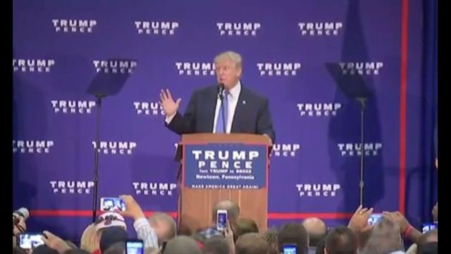 Donald Trump campaigns in Newtown, Pa.
