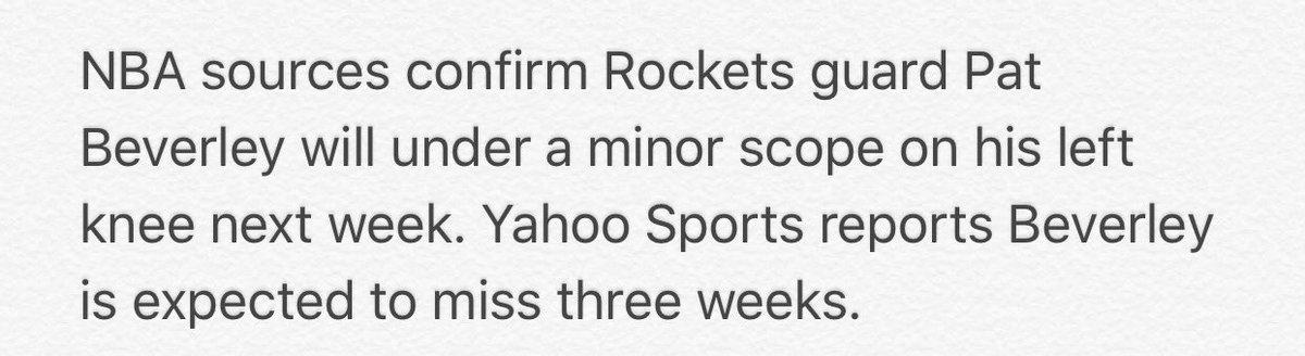 Rockets guard @patbev21 to undergo minor scope on his left knee.