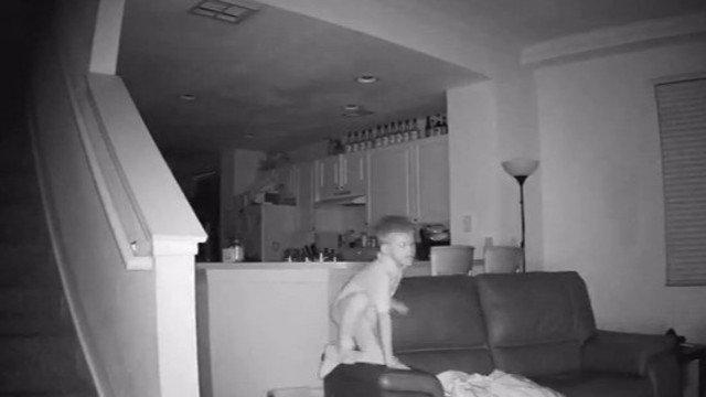 Surveillance video captures boy's overnight fun