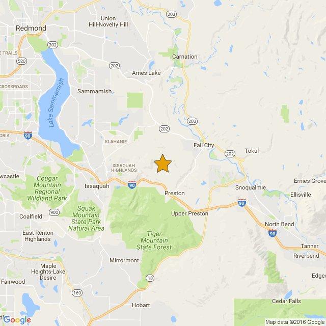 Mag:3.1 5.0 km SW from Fall City, WA Depth:21km 2016/10/22 17:17:UTC V2