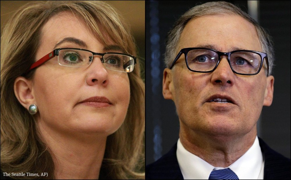 Gabrielle Giffords and Gov. Inslee rally Seattle voters Saturday on gun initiative
