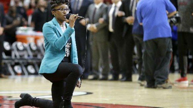 National anthem singer takes knee before Miami Heat game