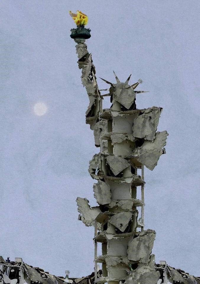 Statue of Liberty made from bombed rubble of Aleppo, by Syrian artist Tammam Azzam. Devastating.