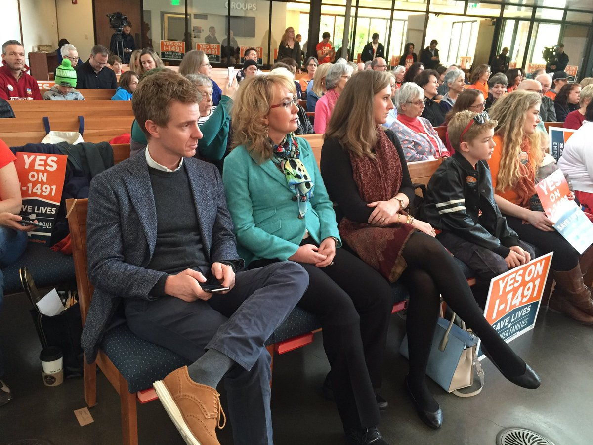 @GabbyGiffords at 1st United Methodist Church in Seattle today for rally that supports initiative I-1491