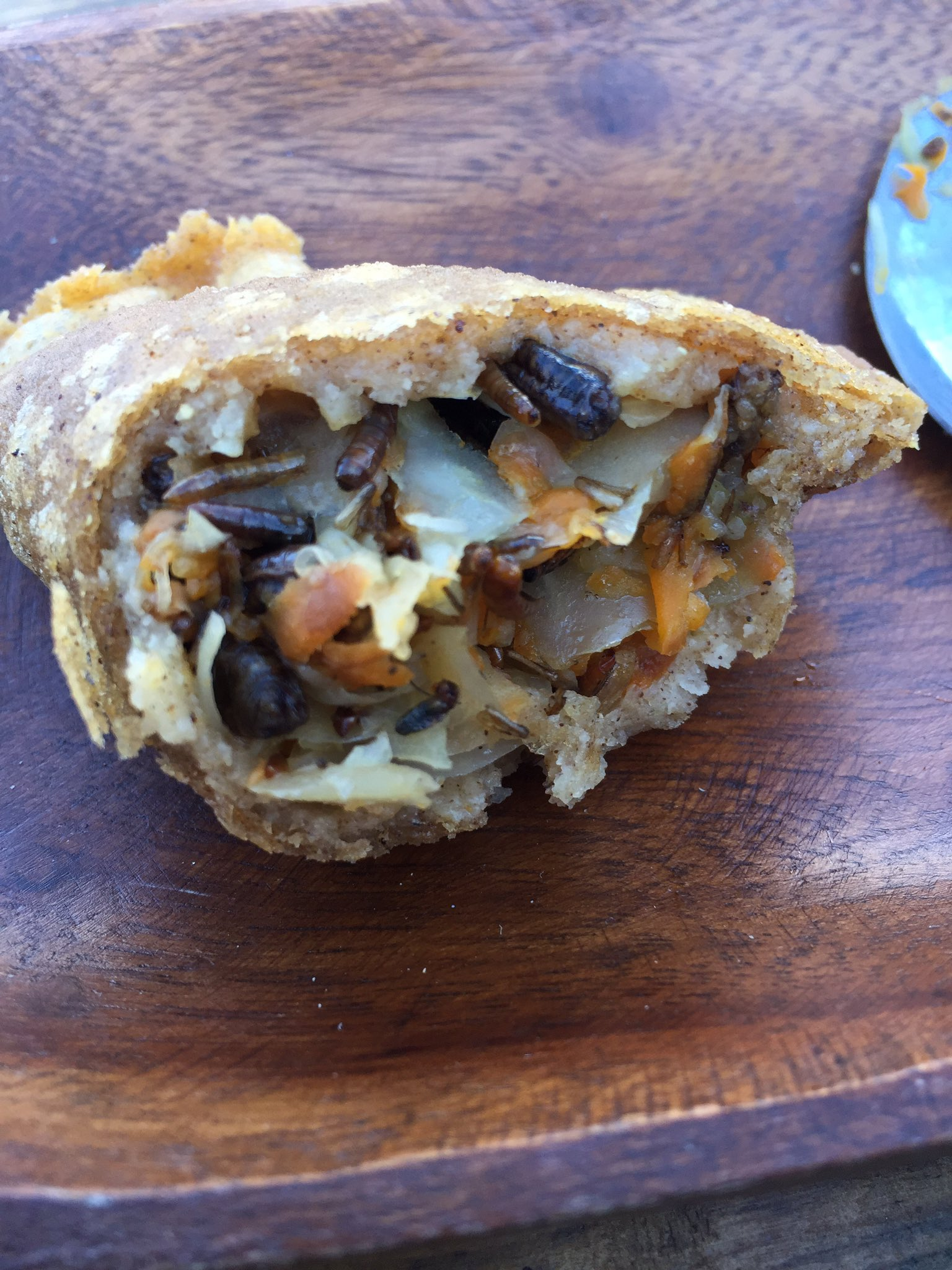 Cricket and mealworm empanadas from heaven!! Check out Colombian Street Food owned by @Cookie_Martinez to get yours! #edibleinsects #weid https://t.co/3CoHs4I8Wj