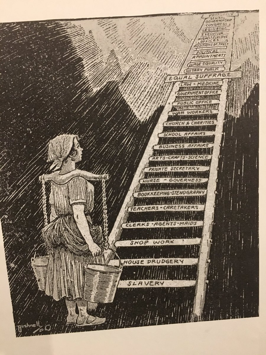 1920 cartoon showing women's path to the US presidency at the MSU Museum https://t.co/OwAHoOjTxI