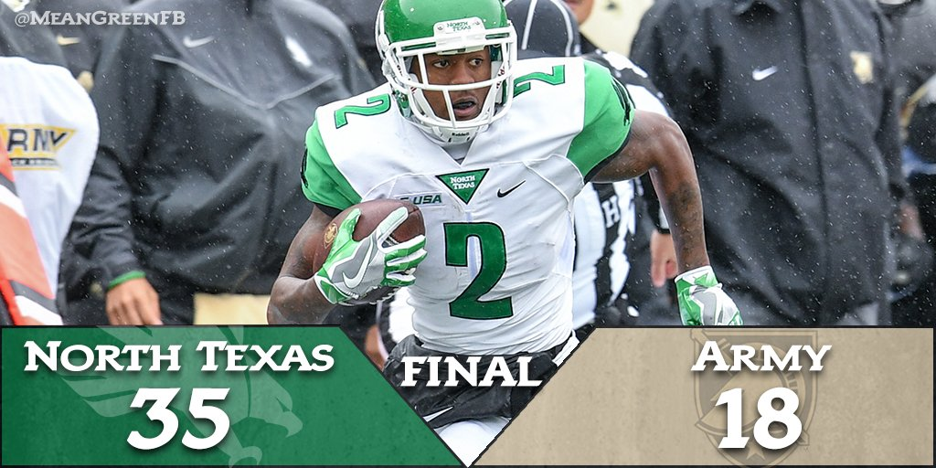 And that does it! The #MeanGreen  knock off #Army 35-18 to improve to 4-3 on the season #GMG #NewDenton https://t.co/X731V1c4zk