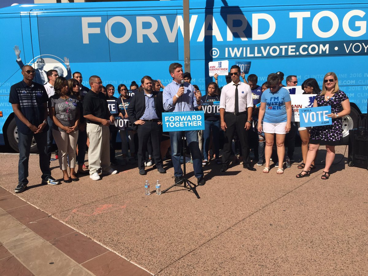 Local democrats holding a press conference to get people out to vote