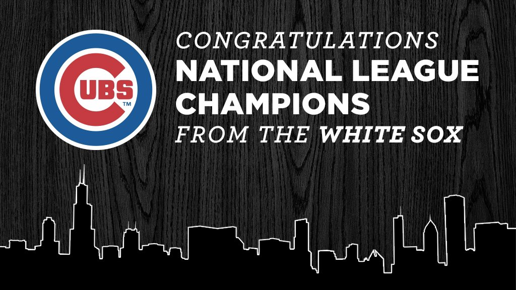 Nice touch! This is how you celebrate a rival's success! RT @whitesox Congrats to the NL Champs https://t.co/ifhtC494Mp