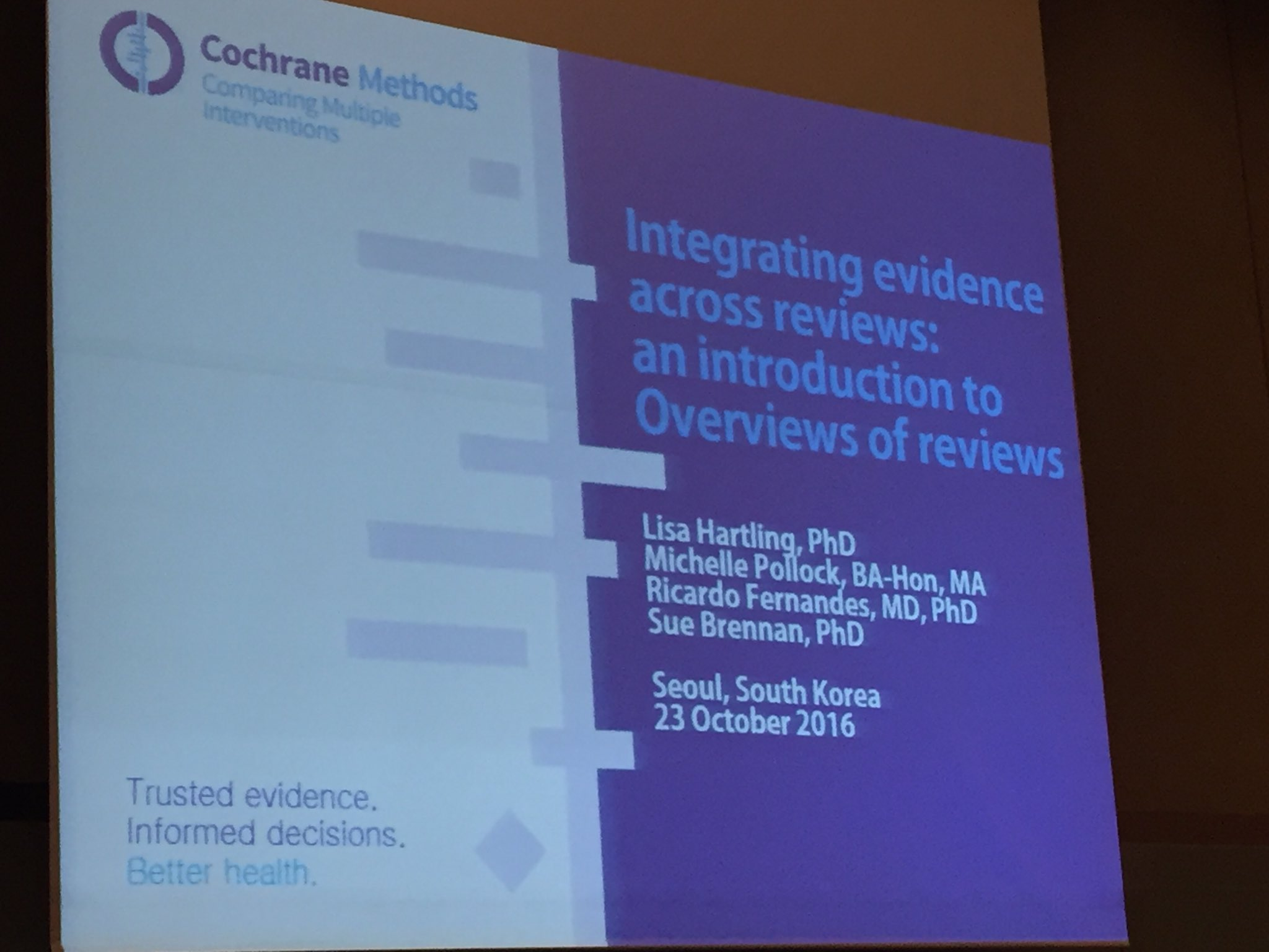 Day 1 #CochraneSeoul looking forward to workshop on overviews of #systematicreviews https://t.co/NcQlLzm8dE