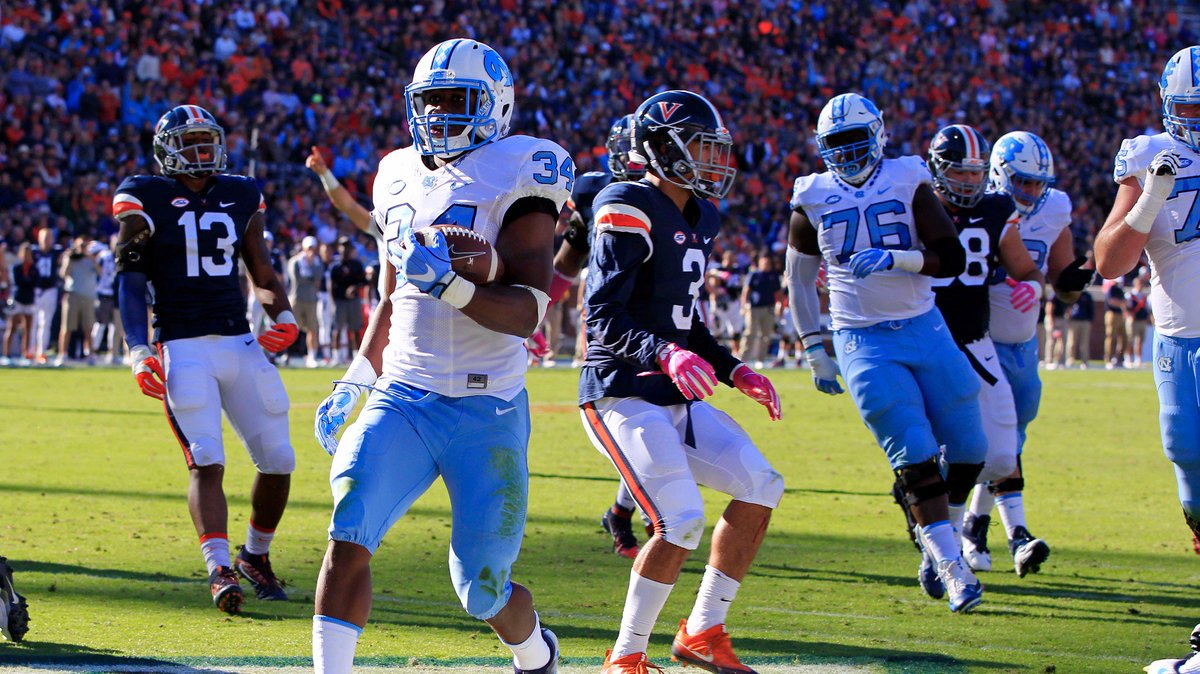 Former @CCHSCougarNews star Elijah Hood rushes for 107 yards, TD as UNC tops Virginia 35-14