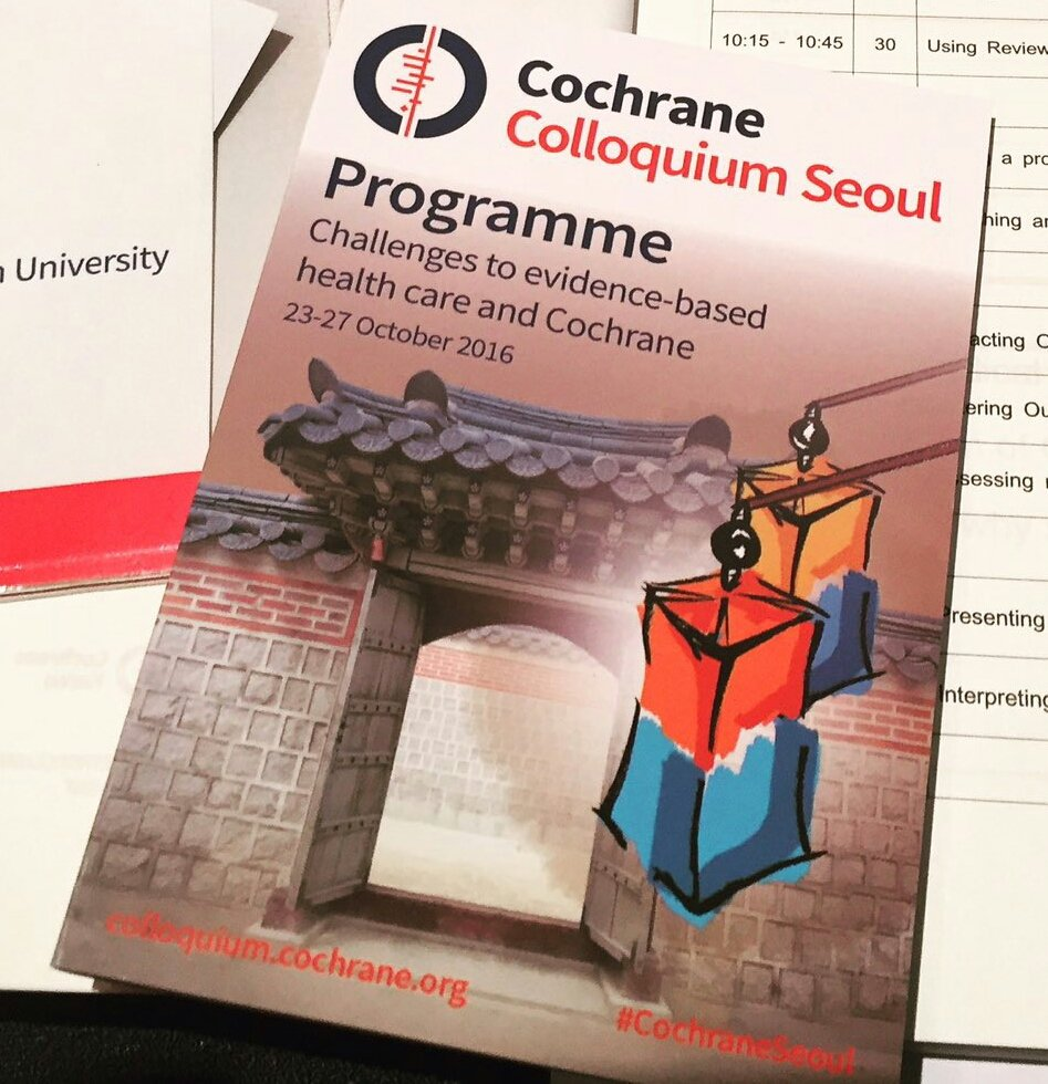 Live tweets from the #CochraneSeoul . https://t.co/BHuDlQZC6F