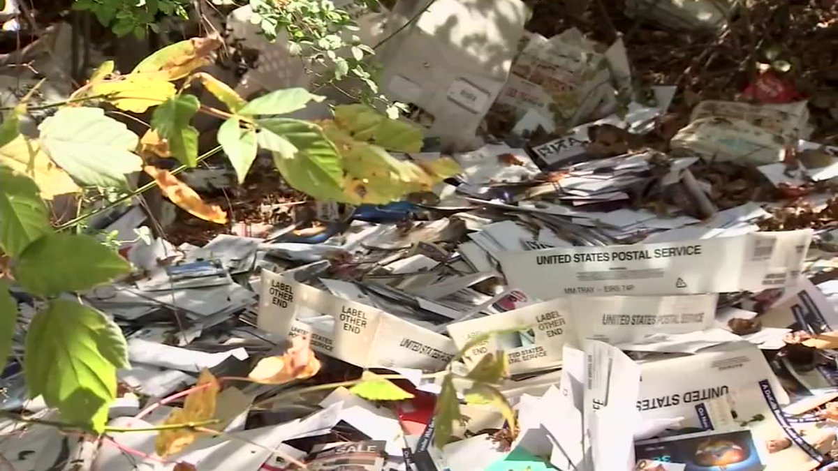 US Postal carrier filmed dumping bins of mail into a ditch abc13