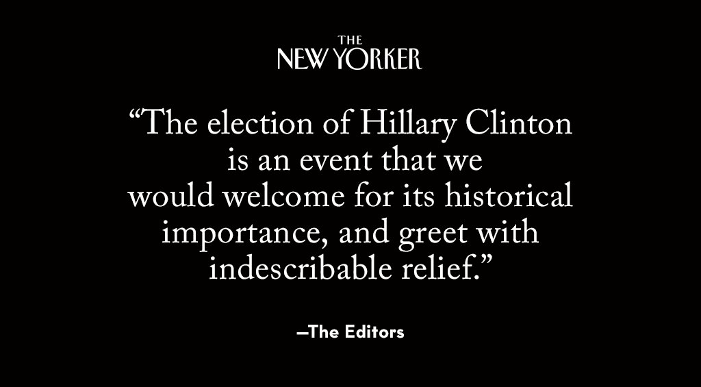 The New Yorker endorses Hillary Clinton: nyer.cm/5xGZo0Q