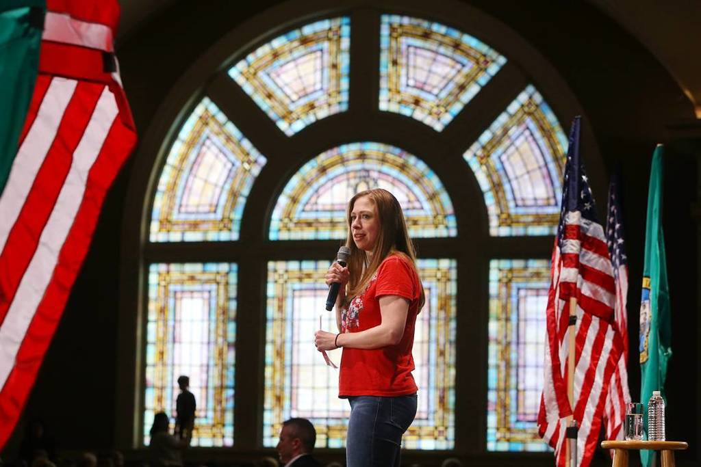 Chelsea Clinton speaks at a Get Out the Vote rally along with Senator Patty Murray and Dem…