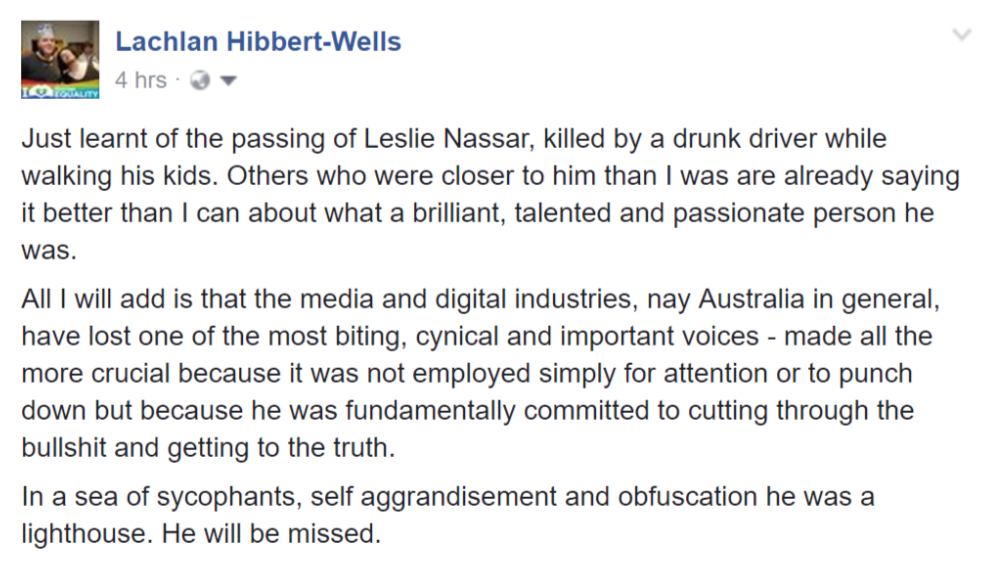 Still shocked by the loss of @LeslieNassar. As I shared earlier today on Facebook... https://t.co/tbaE842Y3z