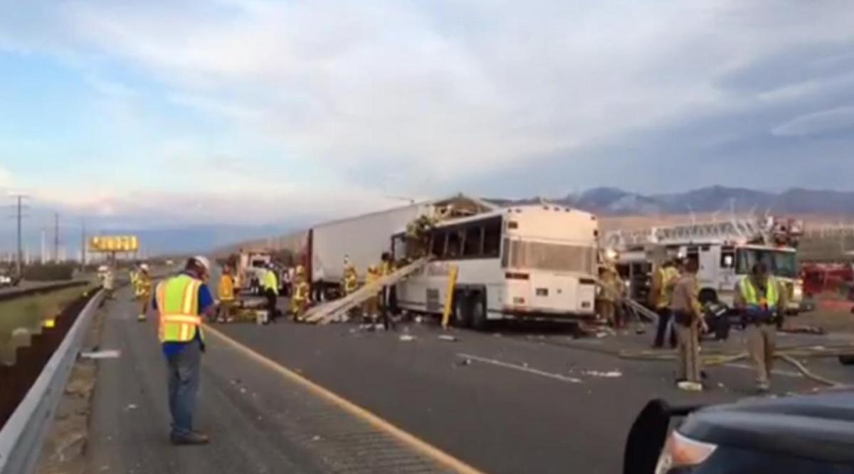 JUST IN: At least 7 dead after tour bus and big rig crash on California highway