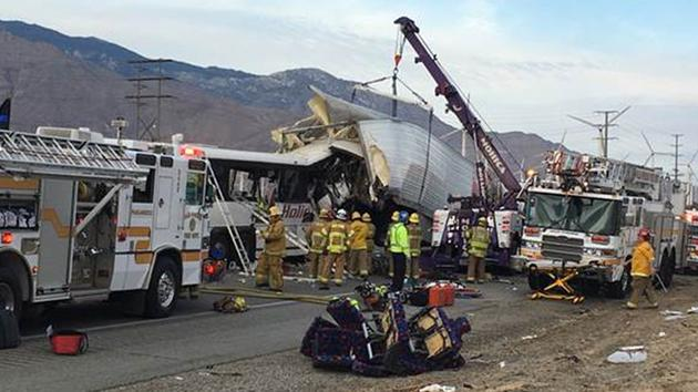 At least 10 dead after tour bus and semi-truck collide near Palm Springs, Calif.: Report