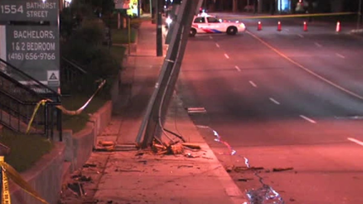 Driver arrested after vehicle mounts sidewalk, slams into pole in Forest Hill