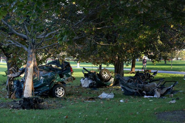 A man is dead after crashing into a tree off Lake Shore Drive Sunday morning: police.