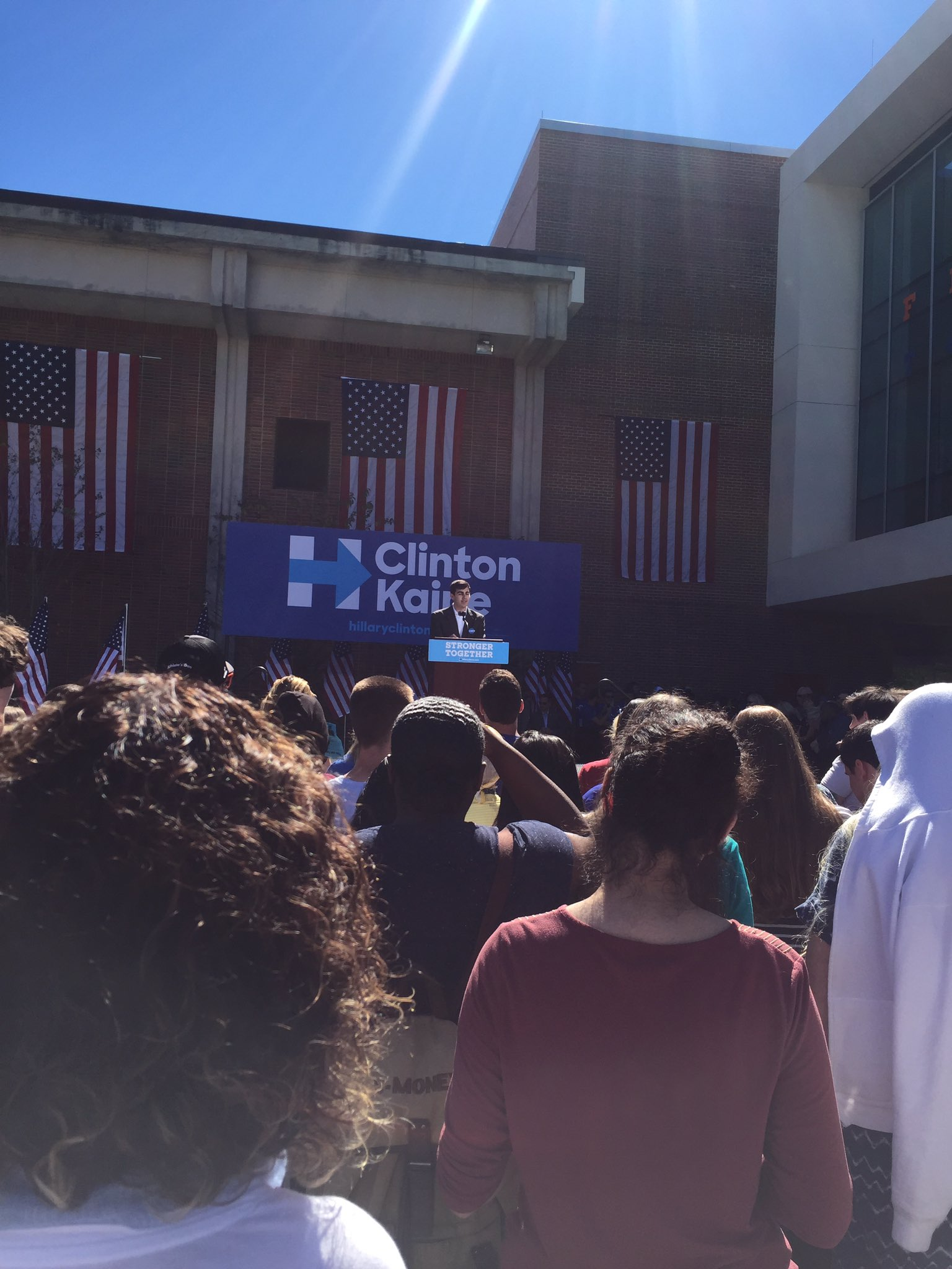 Jake Best, President of Gators for Hillary takes the stage #FLtogether https://t.co/tEHBvAStwB