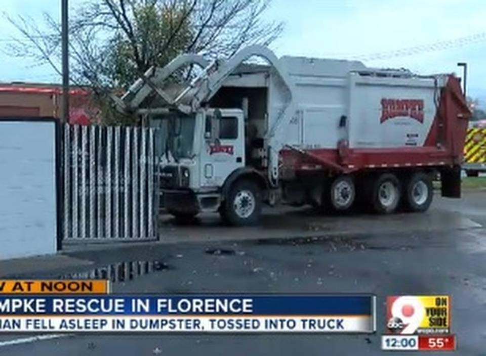 She fell asleep in a dumpster – and woke up inside a garbage truck