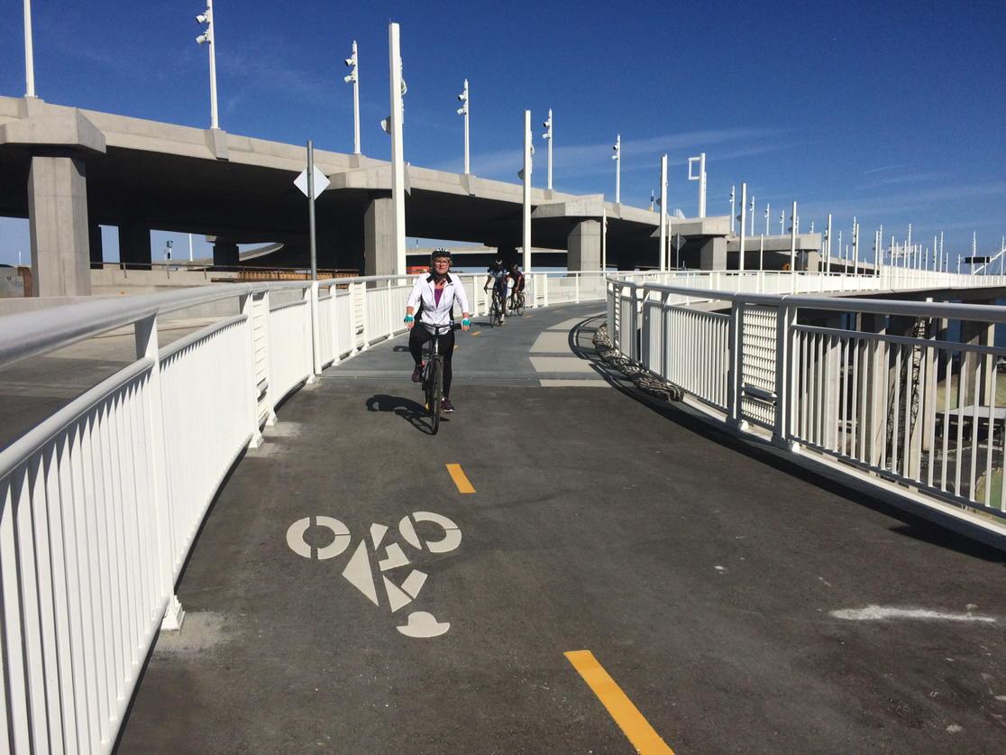 Cyclists enjoying the Bay Bridge Bike/Pedestrian Path, now open to Yerba Buena Island.