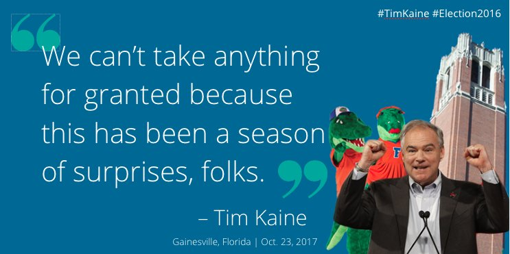 The battle is far from over, no matter what you believe or any indicators of how @realDonaldTrump is performing, @timkaine says #KaineGNV https://t.co/7mor5bxj4V