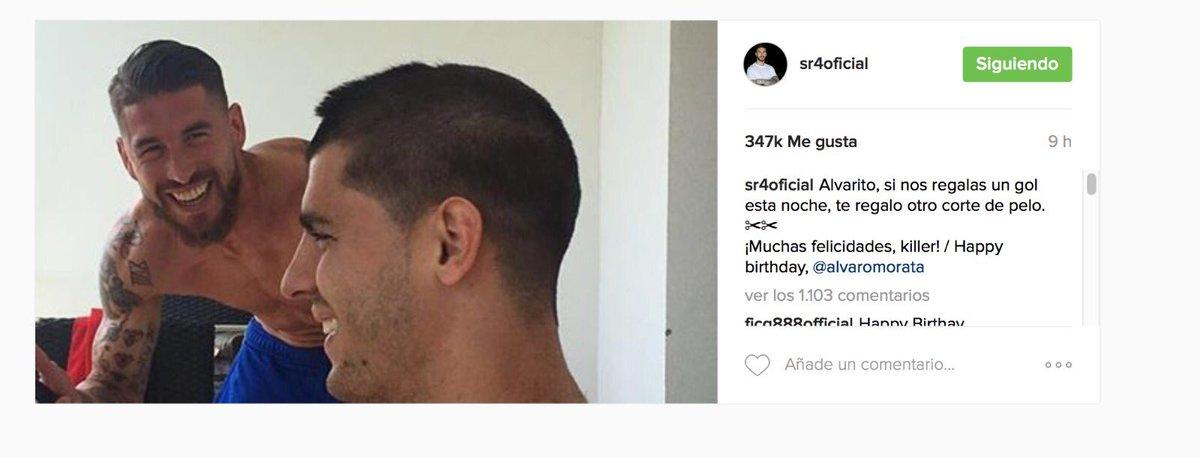 @SergioRamos le pidió el gol y @AlvaroMorata lo marca ¿le cortará el pelo? #HalaMadrid https://t.co/b49MHMjRbK