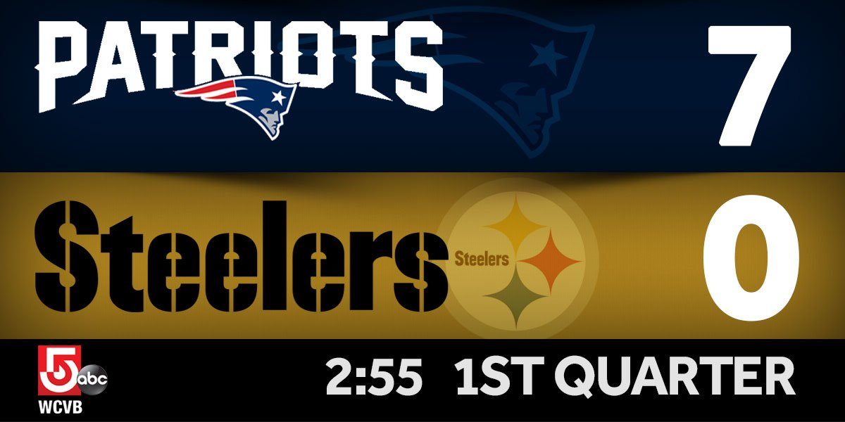 Patriots take the 1st quarter lead on the Steelers. NEvsPIT Live play-by-play updates