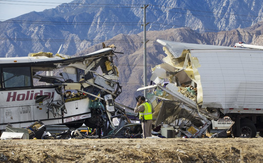 Tour bus crashes into big rig in Desert Hot Springs; 13 dead, 31 others injured