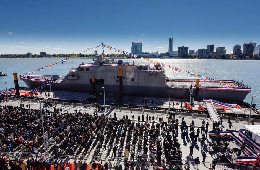 USS Detroit naval ship commissioned in ceremony on Detroit riverfront