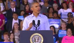 President Obama speaks to Hillary Clinton supporters in Las Vegas.