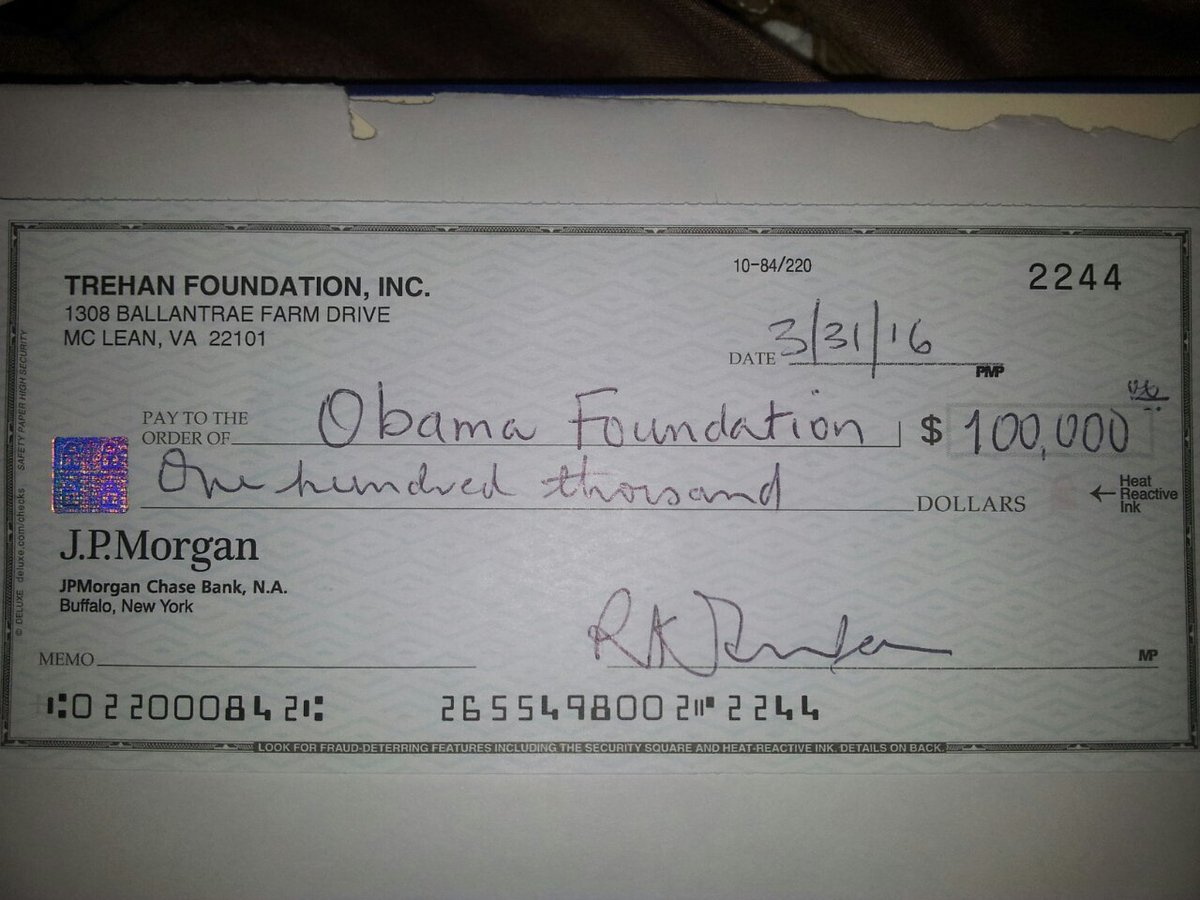 obama foundation pay-to-play check sent to wrong obama, oops!   texags