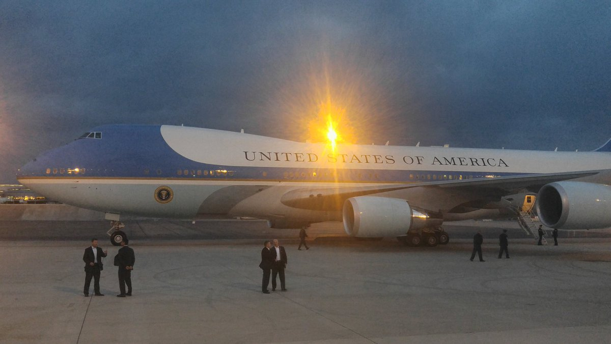 Air Force One prepares for departure from Vegas visit.RJnow