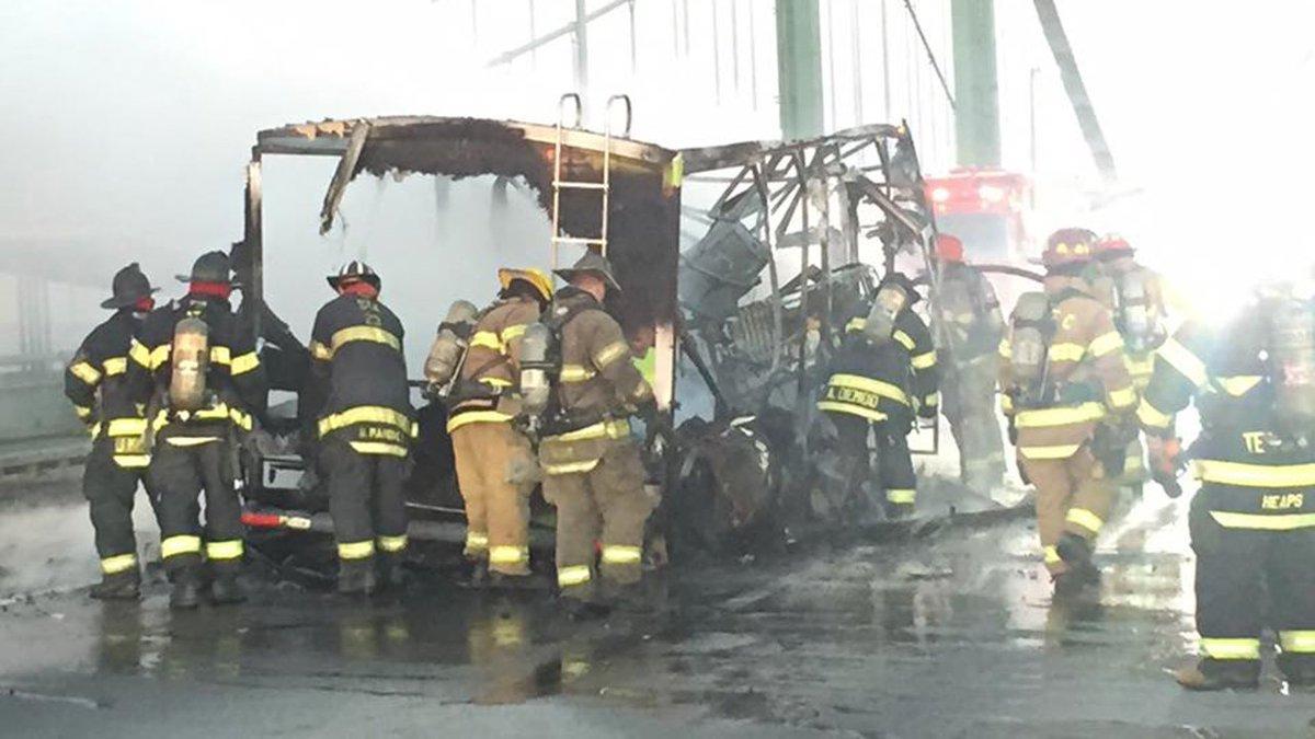 RV fire causes traffic delays on Delaware Memorial Bridge