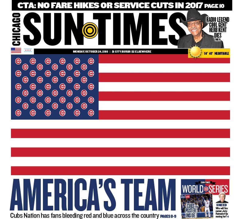 The @Suntimes front page, featuring America's team.