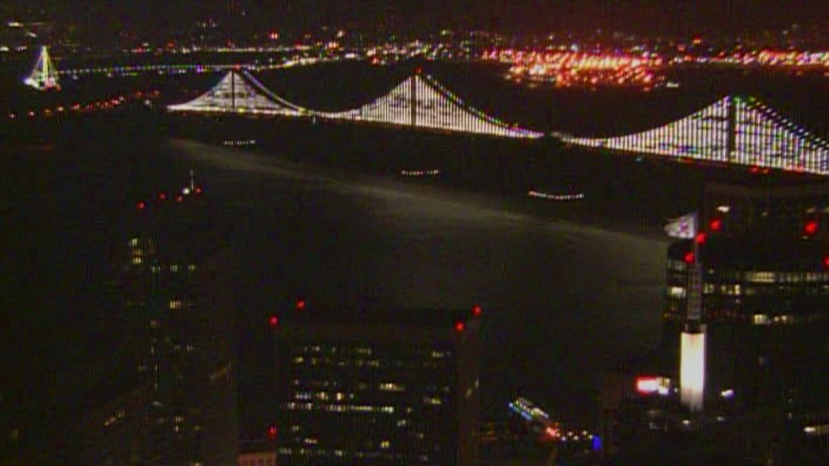 Bay Bridge lights Sunday night.