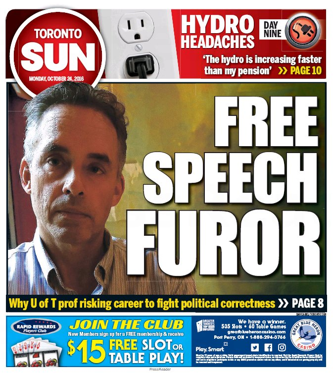 Today's Toronto Sun front page: FREE SPEECH FUROR